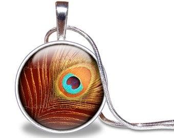 Peacock Necklace, Round Glass Pendant, Glass Tile Necklace, Peacock Feather, Feather Necklace, Peacock Jewelry, Peacock Pendant, Orange