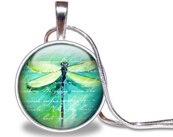 Dragonfly Necklace, Dragonfly Pendant, Teal, Turquoise, Glass Tile Necklace, Dragonfly Jewelry, Dragonfly Gift, Dragonflies, Blue Green