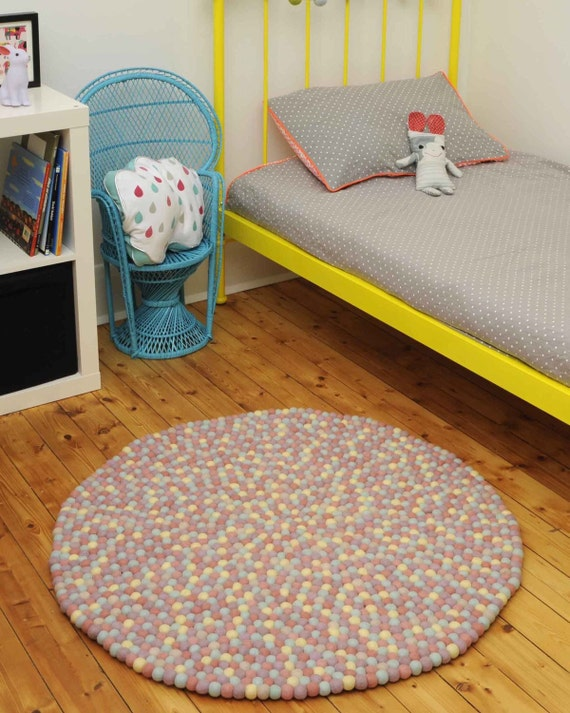 Felt Ball Freckle Pom Pom Nursery Rug Playmat By Sodaladesigns