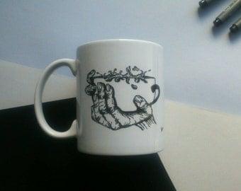 Personalized mug with black and white coffee mug illustration
