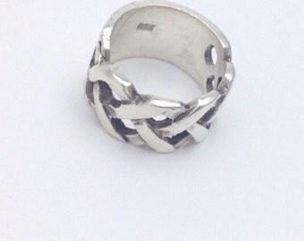 Woven Sterling Silver Band - Size 6.5 -  Sterling Ring -  Wide Band Ring