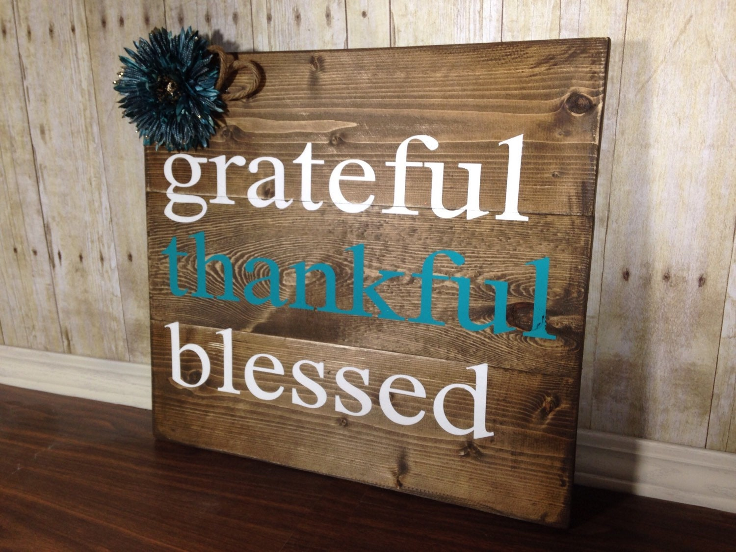 Rustic Wall Decor Blessed Sign Home Teal Inside