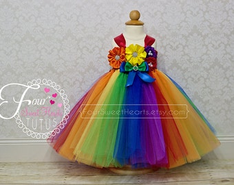 Rainbow First Birthday Tutu, Custom Rainbow First Birthday Outfit, Rainbow Tutu Dress, Girl First Birthday Dress
