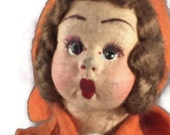 Antique Lenci Type Peasant Doll, Made in Italy