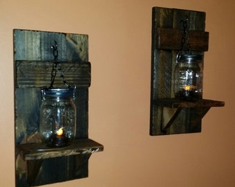 rustic candle holder mason jar wall candle holders country decor lantern shelf