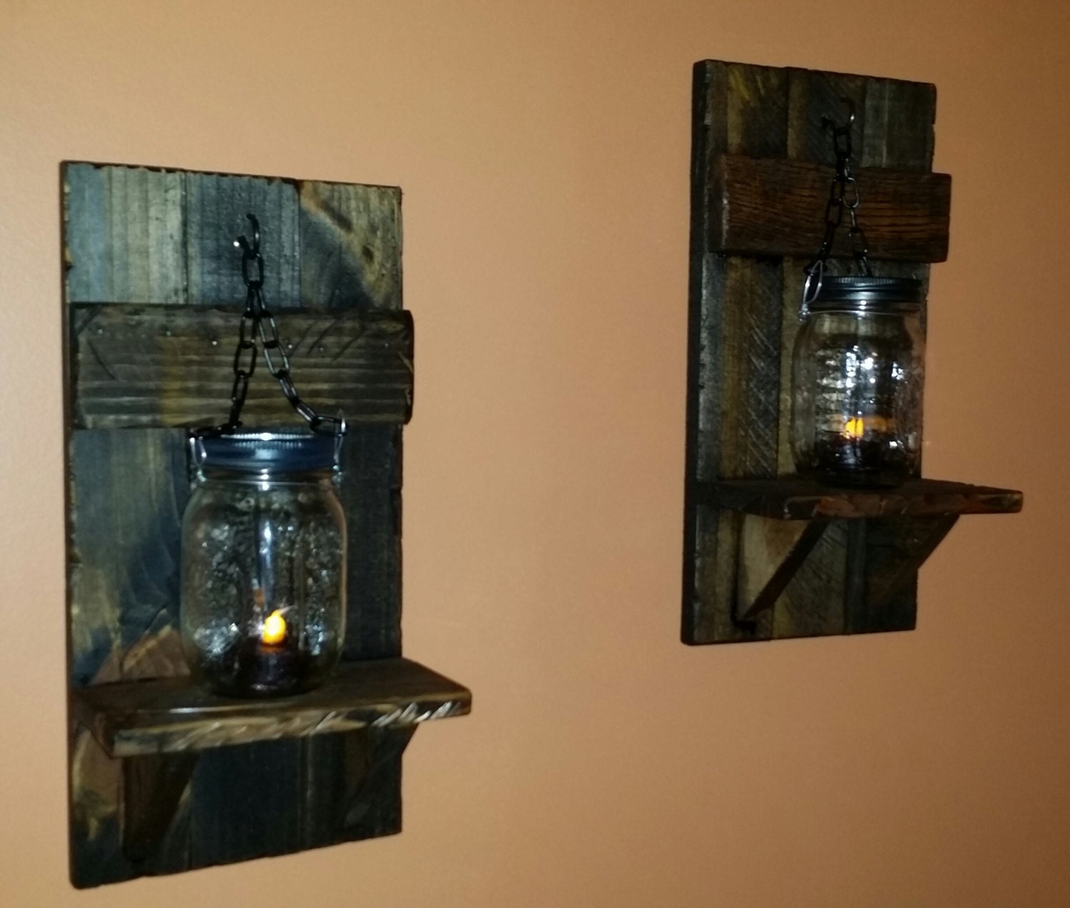 Country Wall Sconce Candle Holder : rustic Candle Holder Mason jar wall candle holders Country
