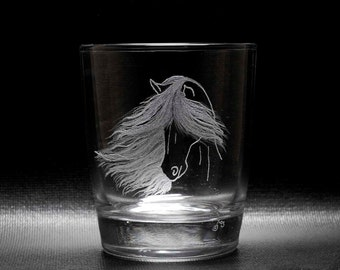 Windswept Horse Drinking Glasses. Hand Engraved. Set of Two.