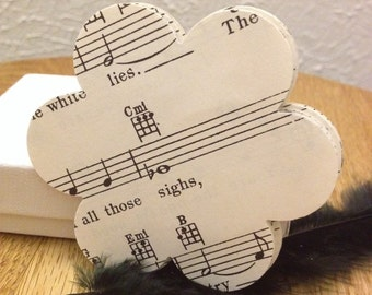 60 Vintage Sheet Music Flower Die Cuts