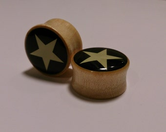 Star wooden  gauges plugs  sizes are in MM 8, 10, 12, 14, 16, 18, 20, MM Free Shipping!!!