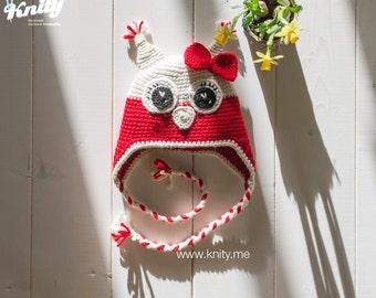 Owl Hat, Crochet Animal Baby Earflap Hat by Knity.me