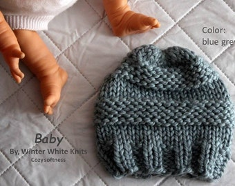 baby hat, knit baby hat, cozy softness, winter baby hat, chunky knit baby hat, available in 10 colors