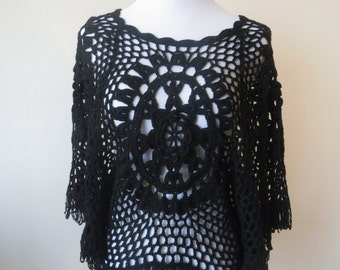 Handmade Crochet Lace Shawl Poncho Cape Blouse with Tassels One Size Black Color