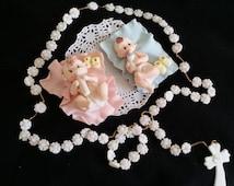 Recuerdos Para Bautizo, Girl Baptism, White Rosary Cake Topper, MI Bautizo, Rosary Baby Decoration, Bautizo Recuerdos, Decoracion De Bautizo