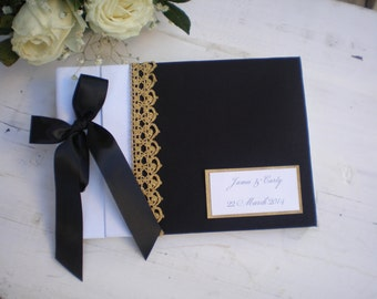 Black white gold guest book-Personalized  wedding guest book- bridal wish book
