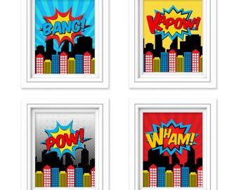 Superhero Wall Art   Superhero Decor   Kids Room Decor   Superhero Party    Superhero Room
