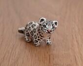Cute snow leopard animal totem - Polymer clay animal OOAK figurine, talisman