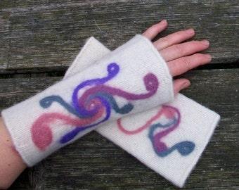 Hand knitted and felted fingerless gloves for women.