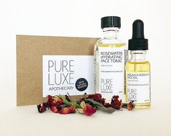 Rose Hydration Gift Set, Argan & Rosehip Face Oil, Rosewater Hydrating Face Tonic, Face Skincare Duo