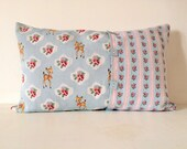 SALES - Printed cushion retro, bambi and flower, blue and pink colors, size 55x35 cm