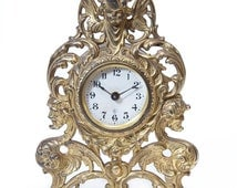 Antique Gilbert Mantel Clock, Home Decor Victorian Renaissance, Cast Iron Ornate Decorations Cherub Angel Head and Wings Made in USA 1900's