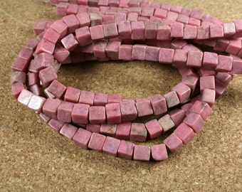 Rhodonite Cube Beads - Pink 3-D Square Beads, 15.5 inch strand