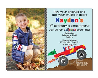 Monster Truck Invitation Birthday Party - DIGITAL - PRINT YOURSELF