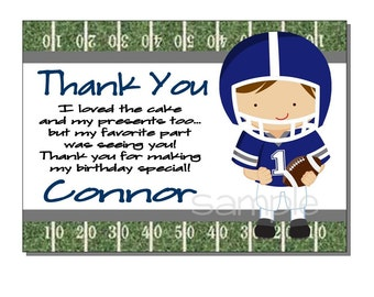 Football Thank You Card Birthday Party Blue and Gray- DIGITAL or PRINTED