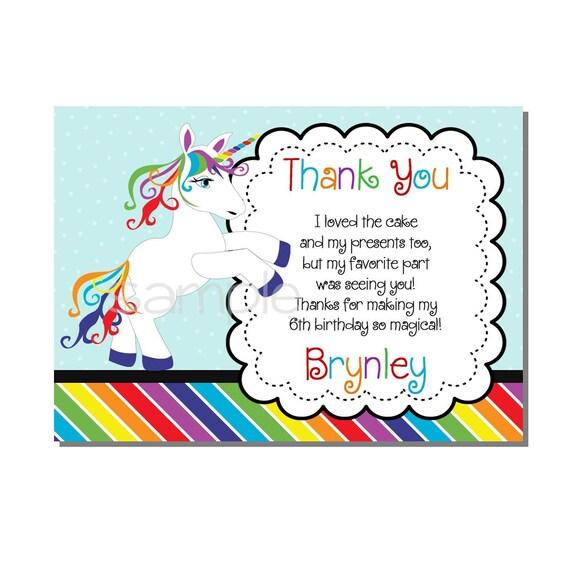 rainbow unicorn thank you card birthday party  digital or