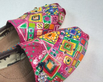 SALE!! Hand painted TOMS, Free Shipping within USA, Vintage crystals, Mother's Day gift