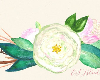 Clipart digital Hand Drawn. Tender white roses. 20 PNG file. Romantic wedding clipart, watercolors. Wedding invitations. post card. Delicate