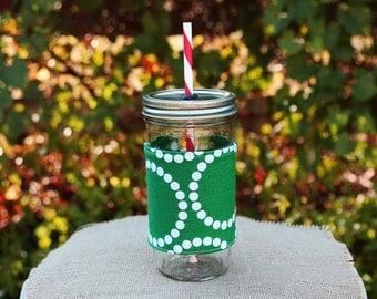 Mason Jar Tumbler 24 oz   Mason Jar To Go Cup   Monogrammed Tumbler   Free Personalization   Green Pearl Bracelets