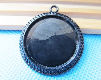 Black Round Base Setting Bezel Tray Bezel Pendant Charm/Finding,Caved Border,fit 25mm Round Cabochon/Cameo