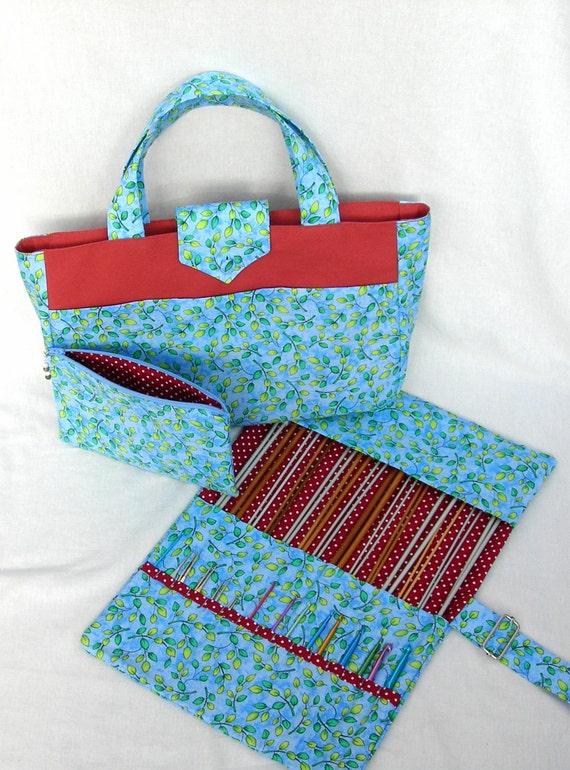 Knitting Needle Bag Pattern : Leaf pattern knitting bag. Knitting needle holder. Crochet