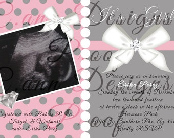 Pink & Grey Baby Shower Invitation