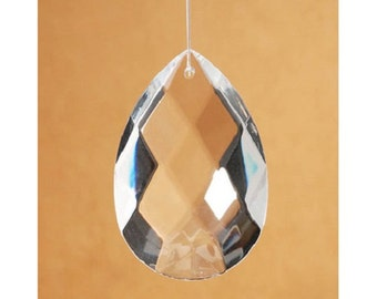 Cut Crystal Pendant Prism – Raindrop Oval Drop - 50 x 29 x 16mm