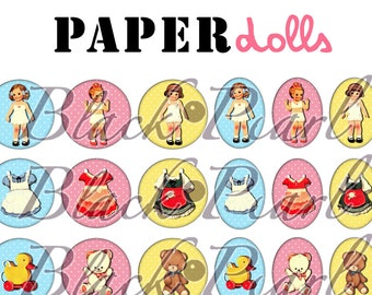 Paperdolls - Page digital images for cabochons - 60 pictures to print