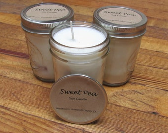 8 oz Sweet Pea Scented Soy Candle