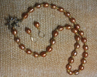 Gold Colored Freshwater Pearl Necklace and Earring Set