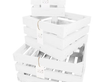 Wooden Crate Box Set 3x White