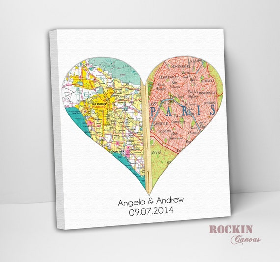 Personalized Map Art/ Custom Canvas Wedding Gift/ Anniversary Gift ...