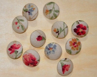 Fabric Buttons - Antique Color Symphony - 10's Small Fabric Covered Buttons