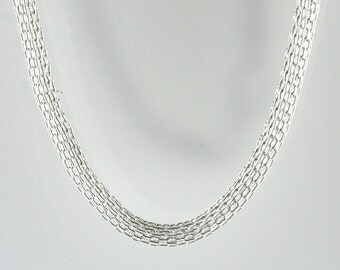 Vintage Sterling Silver Intricate, Thick Mesh  Necklace 8.1g U5785