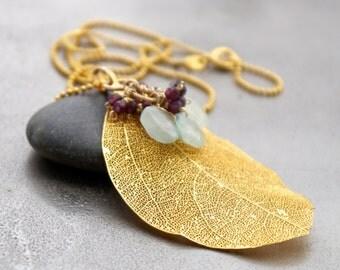 Aquamarine, Garnet, Gold Leaf, Pendant Necklace, 14K Gold Fill, Wire Wrapped, Gemstone Necklace, Gold Chain Necklace, Natural Leaf Necklace