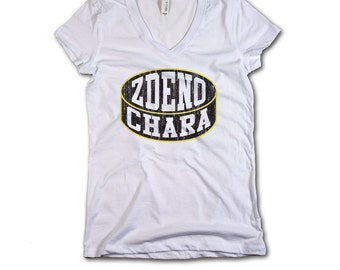 Zdeno Chara Officially Licensed NHLPA Boston V-Neck Mens XS-2XL Zdeno Chara Puck K