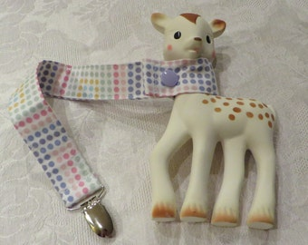 BatesCreates Sophie the Giraffe leash, tether, toy - 100% cotton fabric - topstitched (Pastel Spots)