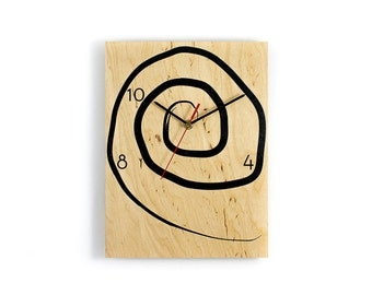 Wall Clock made of birch wood - Handmade screenprinted - Original Berlin product
