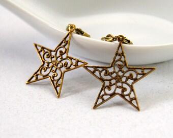 Swirling Star Earrings, Leverback Earrings, Drop Earrings, Vintage Bronze Star Earring, Gifts for Her
