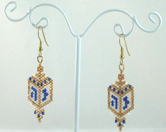 Jewish Dreidel Beaded Earrings - Hanukkah