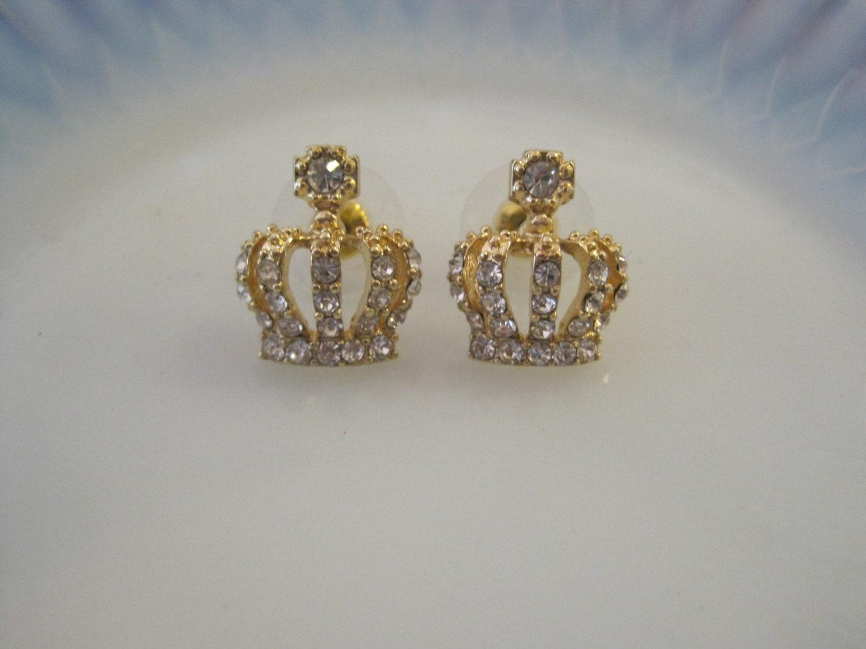 gold crown earrings stud earrings by peonyandplumblossom