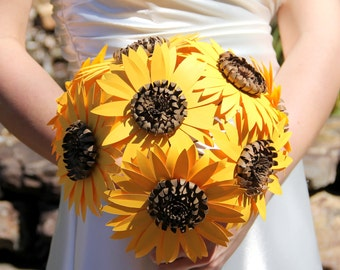 Paper Sunflower bouquet, Wedding bouquet, Sunflowers, Paper flowers